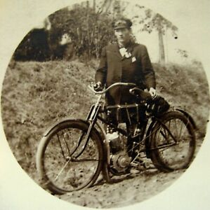 Ca 1911 RPPC Real Photo Man With Early Motorized Bicycle Motorcycle