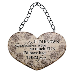 Grandkids Wall Plaque If I'd Have Known Grandchildren Fun Heart Sign 19cm SG1830