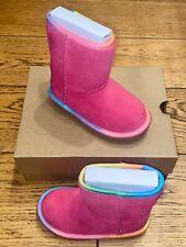 CHILDREN'S UGG T CLASSIC SHORT II SLIP ON BOOT INFANT UK 8 PINK RAINBOW