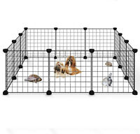 "Portable 14""Metal Dog Pet Playpen Crate Animal Fence Exercise Cage W/Door 12 Pcs"