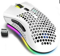 Lightweight Gaming Mouse, Honeycomb Design Rechargeable Wireless White