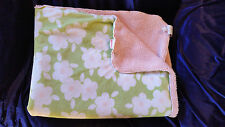 CARTERS BABY GIRL BLANKET GREEN WHITE PINK PLUSH SHERPA FLOWERS LOVEY SECURITY
