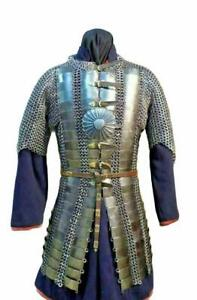 Early Medieval Riveted Chainmail Plate Armor Knight Lamellar Suit Of Armor