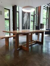 Hudson furniture style custom walnut dining table and bench