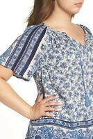 NWT LUCKY BRAND $90 FLORAL BORDER PRINT BOHO GAUZY PEASANT TOP BLUE IVORY 1X