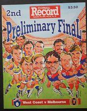 1994 2nd preliminary final West Coast v Melbourne football Record