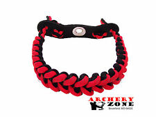 RED & BLACK Shark Tooth Weave Bow paracord wrist sling w/ Leather yoke Archery
