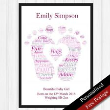 Newborn Baby Personalised Gifts. Word Keepsake Girl Foot Birth Gifts PRINT ONLY