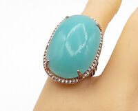 925 Sterling Silver - Large Chalcedony & Topaz Cocktail Ring Sz 7 - R16197