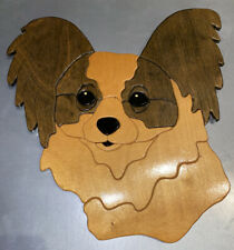 Papillon Wood Dog Head Wall Hanging Art Folk sign plaque display deco Don Roettg