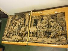Vintage French Tapestry, lot of two (2), Pub/bar scene, approx. 18x18in/15x18in