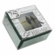 25th Silver Wedding Anniversary Gift Trinket Box With mirror WG61625