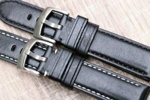 Handmade Watch Strap Genuine Smooth Leather Padded Sporty Character 20mm 21mm