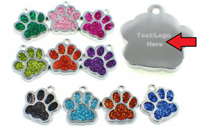😻 Personalised Pet Tags Engraved Dog Cat Charm Glitter Name Collar Tag Neck 🐶