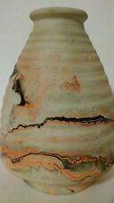 Nemadji  Art Pottery Beehive Vase Red Orange Brown Black