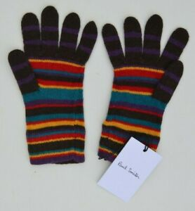 PAUL SMITH Signature Stripe wool gloves purple yellow red turquoise striped