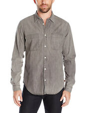 NEW MENS 7 FOR ALL MANKIND GREY WORKWEAR CHEST POCKETS BUTTON FRONT SHIRT L $179