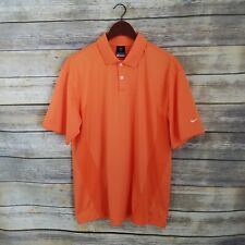 Nike Size M Fit Dry Orange Mens Short Sleeve Polo Shirt Golf Active Vent Holes