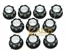 10x Guitar Mini Effect Pedal Knobs 6mm Black w/ Silver Cap Knob for Boss Pedals