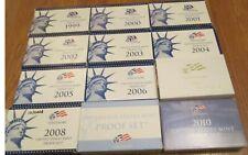 1999 to 2010 Proof Set U.S. Mint 12 Proof Sets Quarters President Dollar COA
