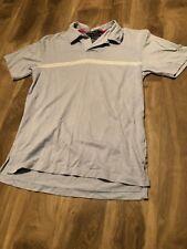 Tommy Hilfiger Short Sleeve Shirt Polo Light Blue Three White Stripes Medium