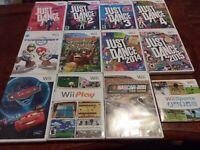 Lot of 11 CIB Games -Wii Sports,Mario Kart,Just Dance 1,2,3,4,Donkey Kong,Nascar