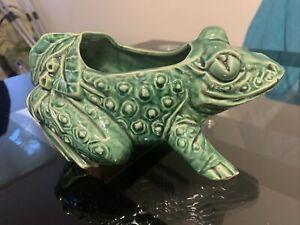 Vintage McCoy Pottery Green Frog Planter