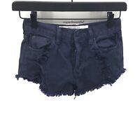 Brandy Melville Dark Blue Distressed Shorts High Waist EUC Size 24