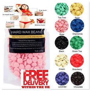 100g HARD HOT WAX BEANS Beads Waxing Hair Removal Kit Warm Pot Depilatory Film