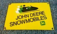 JOHN DEERE PORCELAIN GAS SNOWMOBILES VINTAGE STYLE SERVICE STATION PUMP SIGN