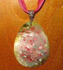 Genuine Russian hand painted Shell PENDANT Japanese PINK SAKURA tree FLOWERS ART