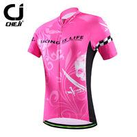 CHEJI Pink Skull Women's Cycling Clothes Bike Bicycle MTB Short Jersey Shirt