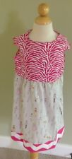 Handmade~Girl's Sleeveless Hot Pink Zebra Chevron Cotton Dress~Size 4~Summer