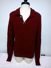 Used Polo Ralph Lauren Dark Red Lambs Wool Sweater Small