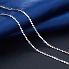 Authentic 18k White Gold Necklace Elegant Bling Star Link Chain 16 inch L
