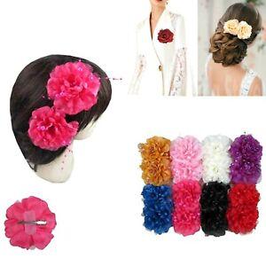 12 pcs Women Bridal Silk Flower Hairpin Wedding Bridesmaid Party Hair Clip Lots