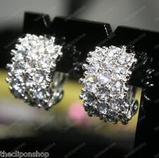 CLIP ON big HUGGIE rhinestone CRYSTAL ENCRUSTED EARRINGS diamante SPARKLY silver