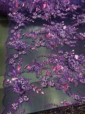 Plum Mesh Embroider With Multi Color Flowers And Beaded Lace Fabric.Wedding/Prom