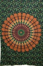 Indian Twin Tapestry Peacock Mandala Green Cotton Bedspread Beautiful Handmade
