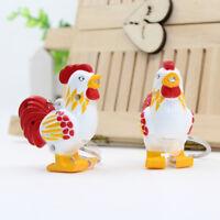Cute Chicken LED Keychain with Sound Keyring Mini Flashlight Toy Gift Key Holder