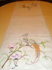 """Vintage Table Runner Needlework 47"""" Birds of Paradise Orchids"""