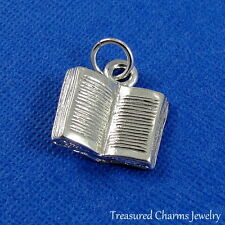 Silver OPEN BOOK CHARM 3D Literary Book Librarian Reading PENDANT *NEW*