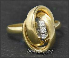 Diamant Damen Ring, 0,10ct Brillanten, 585 Gold, Gelbgold/Weißgold, Handarbeit