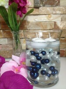 Navy Blue/White For DIY Floating Pearls Centerpieces 90pcs Mix Size Pearls