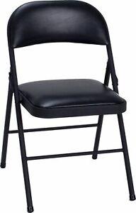Cosco 14993BLK4E Vinyl Folding Chair - Black