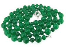 """Long Charm Necklace Round Green Jade 6mm &10mm Gemstone Beads 50"""" PN493"""