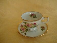 Vintage Enesco Hand Painted Pink & Yellow Roses Cup & Saucer Japan