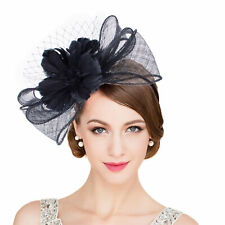 cc24cac55bfb5 Womens Black Sinamay Floral Feather Fascinator Kentucky Derby Hat Headband  T346