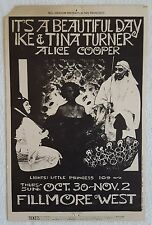 1969 It's a Beautiful Day,Ike & Tina Turner,ALICE COOPER Concert Postcard