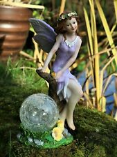 5Garden Solar Ornament Ball Cherub Fairy Angel Figurine Statue 33cm Tall BOXED